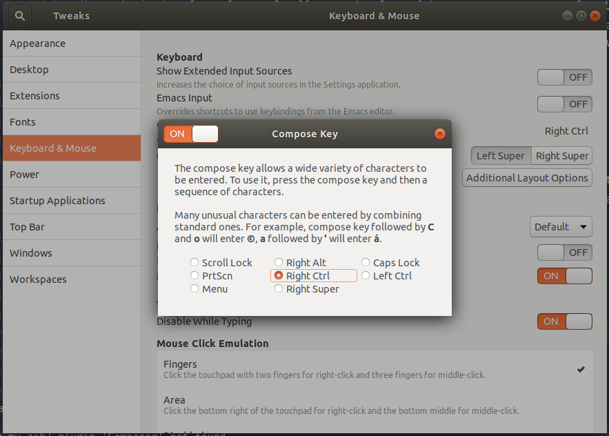 Screenshot of Gnome Tweaks showing the options for setting the Compose key